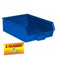 Sichtlagerkasten SB4, stapelbar, LxBxH 500/450x300x145 mm, Inhalt 18 Liter, Stahlblech/lackiert, Farbe: blau