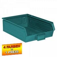 Sichtlagerkasten SB4, stapelbar, LxBxH 500/450x300x145 mm, Inhalt 18 Liter, Stahlblech/lackiert, Farbe: blaugrün