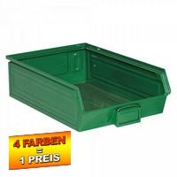 Sichtlagerkasten SB4, stapelbar, LxBxH 500/450x300x145 mm, Inhalt 18 Liter, Stahlblech/lackiert, Farbe: grün