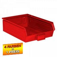 Sichtlagerkasten SB4, stapelbar, LxBxH 500/450x300x145 mm, Inhalt 18 Liter, Stahlblech/lackiert, Farbe: rot