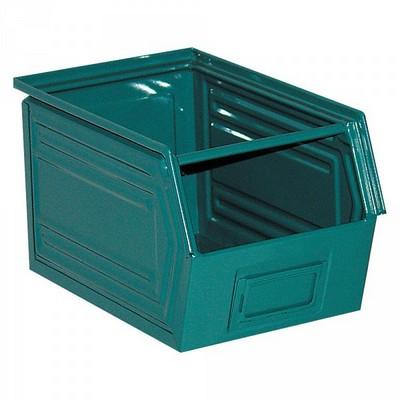 Sichtlagerkasten SB5, stapelbar, LxBxH 350/300x200x200 mm, Inhalt 11 Liter, Stahlblech lackiert/Farbe: blaugrün