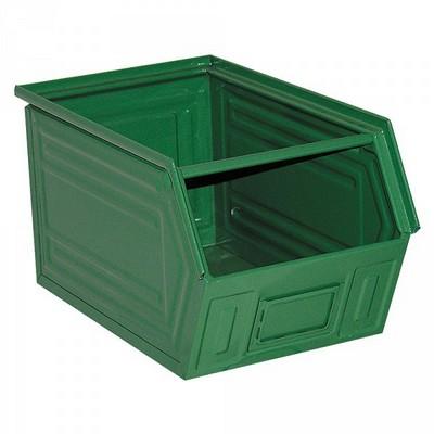 Sichtlagerkasten SB5, stapelbar, LxBxH 350/300x200x200 mm, Inhalt 11 Liter, Stahlblech lackiert/Farbe: grün