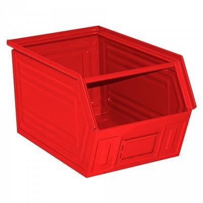 Sichtlagerkasten SB5, stapelbar, LxBxH 350/300x200x200 mm, Inhalt 11 Liter, Stahlblech lackiert/Farbe: rot