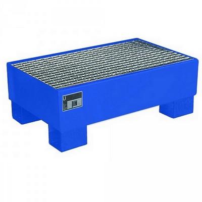 Auffangwanne mit verzinktem Gitterrost, Stahlblech/lackiert/blau RAL 5012, Volumen 61 Liter, LxBxH 800 x 500 x 290 mm