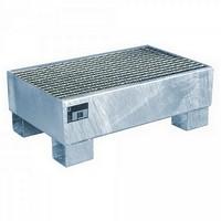 Auffangwanne mit Gitterrost, Stahlblech/verzinkt, Volumen 61 Liter, LxBxH 800 x 500 x 290 mm