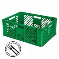Stapelkorb für Obst u. Gemüse, PE-HD, grün, LxBxH 600 x 400 x 240 mm, 43 Liter