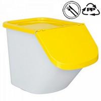 Zutatenbehälter 40 Liter, 28 kg Mehl oder 40 kg Zucker, Polypropylen (PP), LxBxH 610 x 430 x 450 mm, weiß/gelb