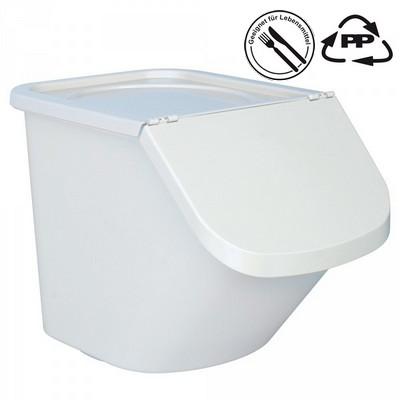 Vorratsbehälter 40 Liter, 28 kg Mehl oder 40 kg Zucker, Polypropylen (PP), LxBxH 610 x 430 x 450 mm, weiß/weiß