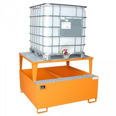 Stahl-Auffangwanne für Tankcontainer, IBC-Container, ASF-Behälter, BxTxH 1460 x 1460 x 1083 mm, Auffangvolumen 1.000 Liter