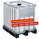 Gefahrgut IBC-Container auf Kunststofffpalette, 800 Liter, LxBxH 1200 x 1000 ..