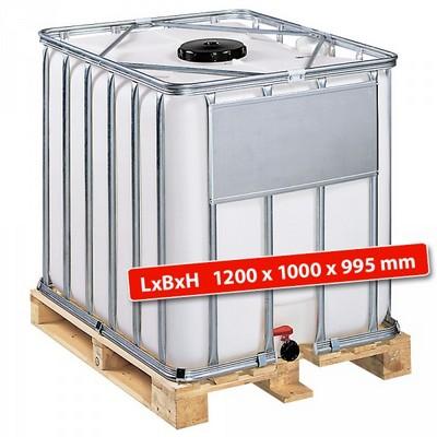 IBC-Container auf Holzpalette, 800 Liter, LxBxH 1200 x 1000 x 995 mm, weiß