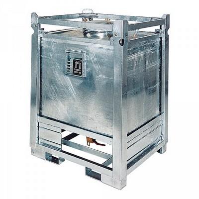 ASF-Behälter 800 Liter, einwandig, Bodenauslauf/Untenentleerung, f. passive Lagerung, UN-Zulassung