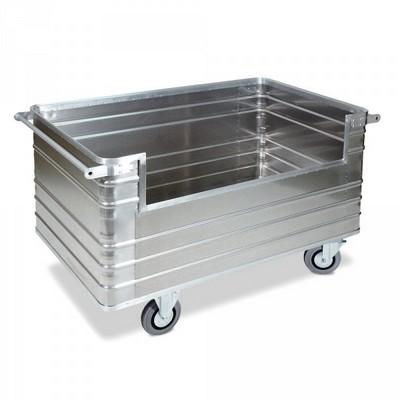 Alu-Kastenwagen, geschl. Ausführung, / Seitenwandausschnitt, Schiebebügel, 945 Liter / LxBxH 1680 x 930 x 972 mm