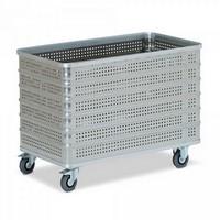 Alu-Kastenwagen, 430 Liter, LxBxH 1130 x 630 x 845 mm, Wände + Boden gelocht
