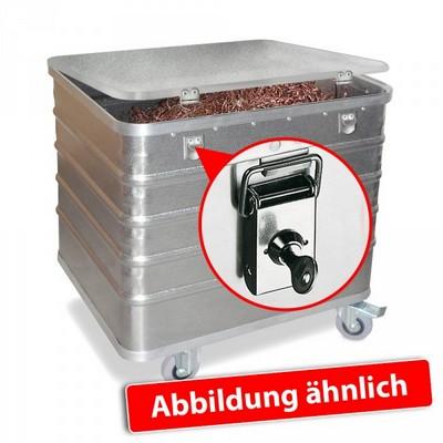 Alu-Kastenwagen, mit Deckel u. Schlössern, LxBxH 990 x 580 x 772 mm, Inhalt 322 Liter, Tragkraft 200 kg