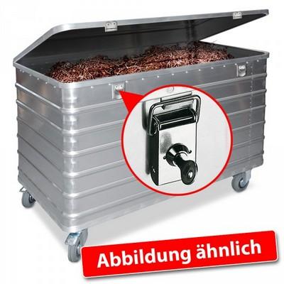 Alu-Kastenwagen, mit Deckel und Schlössern, LxBxH 1280 x 730 x 945 mm, Inhalt 656 Liter, Tragkraft 250 kg