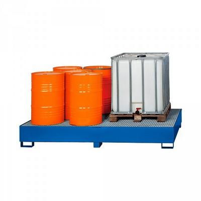 Stahl-Auffangwanne für Fässer, Tankcontainer, ASF-Behälter, Auffangvolumen 1.000 Liter