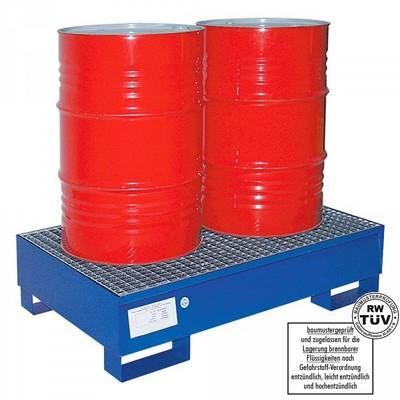 Auffangwanne mit Gitterrost, 225 Liter Auffangvolumen, für Lagerung von Ölfässern, Chemiekalien, Treibstoffen