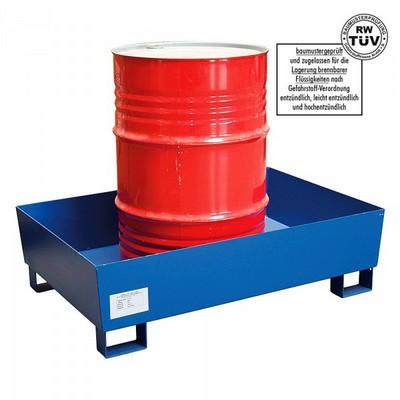 Auffangwanne aus Stahl, kunststoffbeschichtet, für Fässer / Gebinde, Auffangvolumen 205 Liter