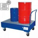 Fahrbare Auffangwanne mit Gitterrost, 225 Liter Auffangvolumen, für 2 stehende ..