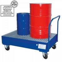 Fahrbare Auffangwanne mit Gitterrost, 225 Liter Auffangvolumen, für 2 stehende Fässer / Gebinde