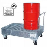 Fahrbare Auffangwanne, verzinkt, mit Gitterrost, 225 Liter Auffangvolumen, für 2 stehende Fässer / Gebinde