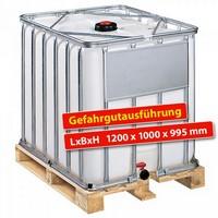 IBC-Container auf Holzpalette, 800 Liter, Gefahrgutausführung, LxBxH 1200 x 1000 x 995 mm, weiß