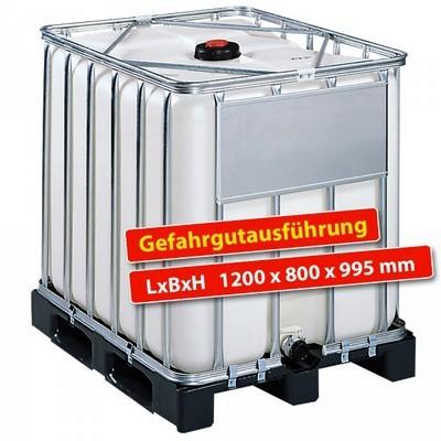 IBC-Container auf Kunststoffpalette, Gefahrgutausführung, 600 Liter, LxBxH 1200 x 800 x 995 mm, weiß