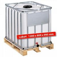 IBC-Container auf Holzpalette, 600 Liter, LxBxH 1200 x 800 x 995 mm, weiß