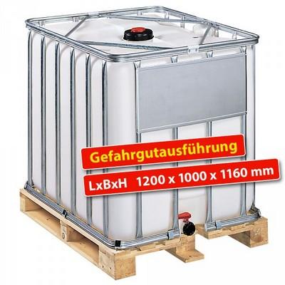 IBC-Container auf Holzpalette, Gefahrgutausführung, 1000 Liter, LxBxH 1200 x 1000 x 1160 mm, weiß