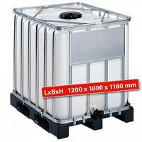 IBC-Container auf Kunststoffpalette, 1000 Liter, LxBxH 1200 x 1000 x 1160 mm, weiß