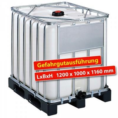 IBC-Container auf Kunststoffpalette, Gefahrgutausführung, 1000 Liter, LxBxH 1200 x 1000 x 1160 mm, weiß