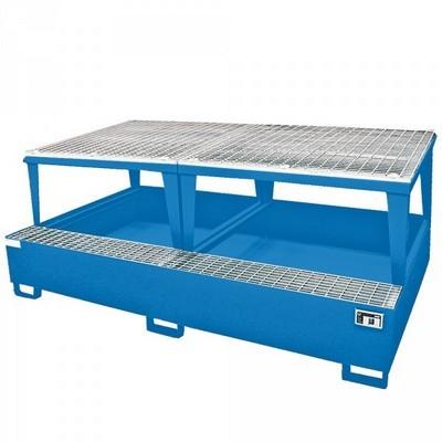 Stahl-Auffangwanne für Gefahrgutbehälter / Tankcontainer, Auffangvolumen 1.000 Liter