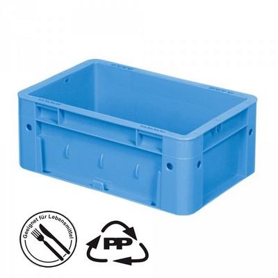 Geschlossener Systembehälter mit 2 Griffleisten, Polypropylen-Kunststoff (PP), Euro-Format LxBxH 300 x 200 x 120 mm, blau