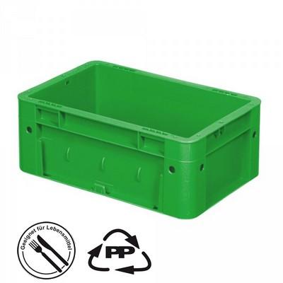 Geschlossener Systembehälter mit 2 Griffleisten, Polypropylen-Kunststoff (PP), Euro-Format LxBxH 300 x 200 x 120 mm, grün