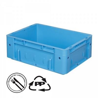 Geschlossener Systembehälter mit 2 Griffleisten, Polypropylen-Kunststoff (PP), Euro-Format LxBxH 400 x 300 x 120 mm, blau