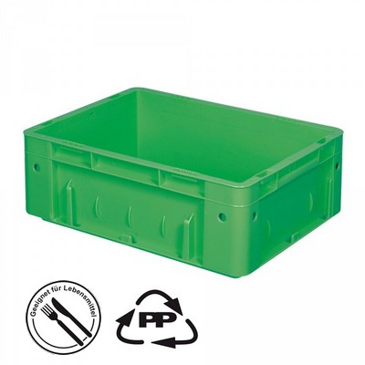 Geschlossener Systembehälter mit 2 Griffleisten, Polypropylen-Kunststoff (PP), Euro-Format LxBxH 400 x 300 x 120 mm, grün