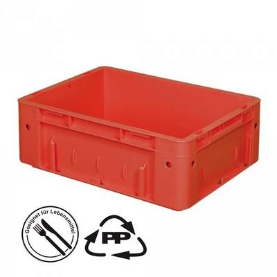 Geschlossener Systembehälter mit 2 Griffleisten, Polypropylen-Kunststoff (PP), Euro-Format LxBxH 400 x 300 x 120 mm, rot