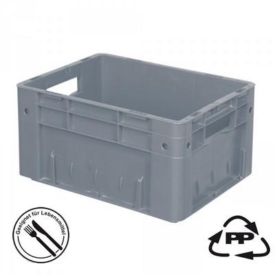 Geschlossener Systembehälter mit 2 Grifföffnungen, Polypropylen-Kunststoff (PP), Euro-Format LxBxH 400 x 300 x 210 mm, grau