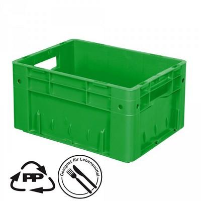 Geschlossener Systembehälter mit 2 Grifföffnungen, Polypropylen-Kunststoff (PP), Euro-Format LxBxH 400 x 300 x 210 mm, grün