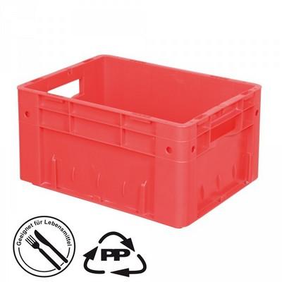 Geschlossener Systembehälter mit 2 Grifföffnungen, Polypropylen-Kunststoff (PP), Euro-Format LxBxH 400 x 300 x 210 mm, rot