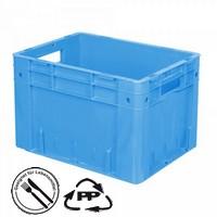 Geschlossener Systembehälter mit 2 Grifföffnungen, Polypropylen-Kunststoff (PP), Euro-Format LxBxH 400 x 300 x 270 mm, blau