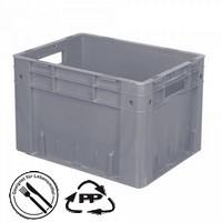 Geschlossener Systembehälter mit 2 Grifföffnungen, Polypropylen-Kunststoff (PP), Euro-Format LxBxH 400 x 300 x 270 mm, grau