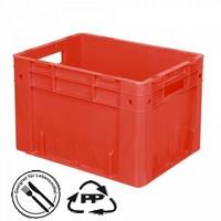 Geschlossener Systembehälter mit 2 Grifföffnungen, Polypropylen-Kunststoff (PP), Euro-Format LxBxH 400 x 300 x 270 mm, rot