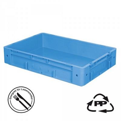 Systembehälter EC64120SCG, Boden und Wände geschlossen, LxBxH 600 x 400 x 120 mm, blau, mit 2 Griffleisten
