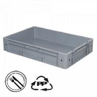 Geschlossener Systembehälter mit 2 Griffleisten, Polypropylen-Kunststoff (PP), Euro-Format LxBxH 600 x 400 x 120 mm, grau