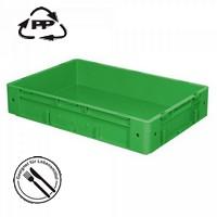 Geschlossener Systembehälter mit 2 Griffleisten, Polypropylen-Kunststoff (PP), Euro-Format LxBxH 600 x 400 x 120 mm, grün