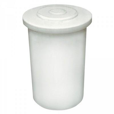 100 Liter Salzlösebehälter, mit Deckel, PE-LLD, weiß/natur, mit Literskala, Außen-ØxH 450/520x780 mm