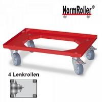 Kistenroller für Stapelkisten 600 x 400 mm, Farbe: rot, 250 kg, graue Gummi-Rollen, 4 Lenkrollen, 2 mit Feststellbremse