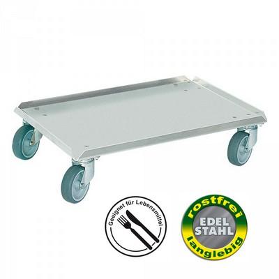 Kistenroller aus Edelstahl, rostfrei, für Eurobehälter 600 x 400 mm oder 2 x 400 x 300 mm